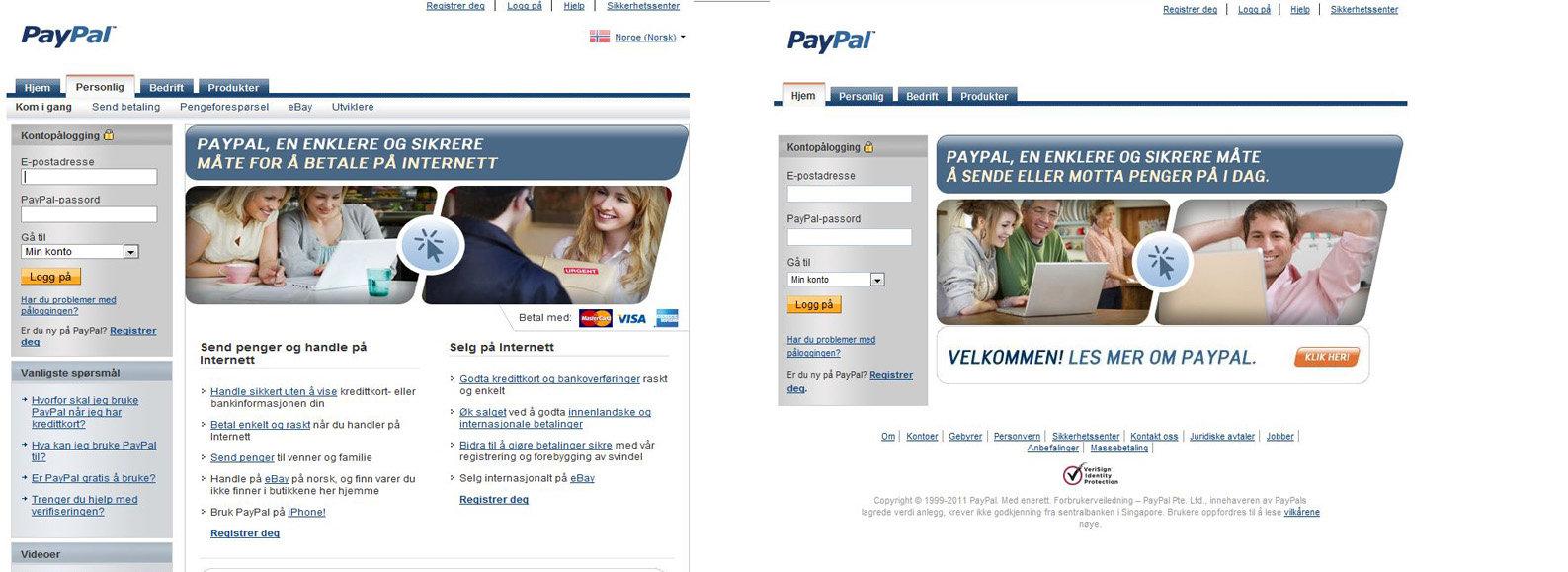 Nettsiden til venstre er ekte vare. Logger du deg inn på siden til høyre, kan du risikere at noen stikker av med pengene dine.