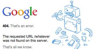 Den nye 404-feilmeldingen om at siden ikke finnes ser nå slik ut i Google.