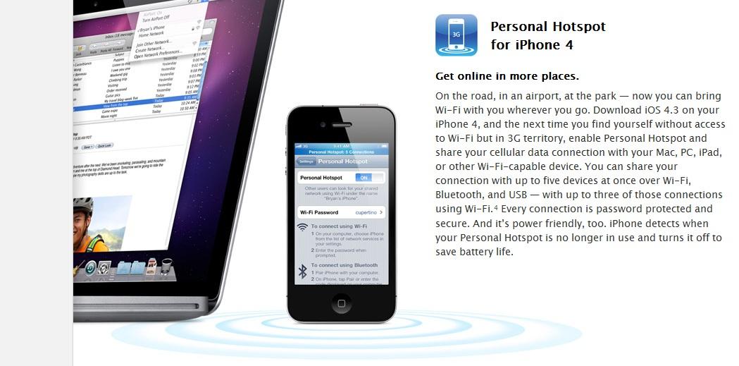 Personal Hotspot lar deg dele nett-forbindelsen med en iPhone 4 med andre.