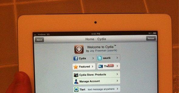 iPad 2 med beviset på at hacken er ekte: tredjeparts-applikasjonsbutikken Cydia.