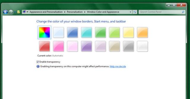 «Auto-colourization» endrer Aero Glass-fargene etter hvilket skrivebordsbilde du har definert i Windows 8.