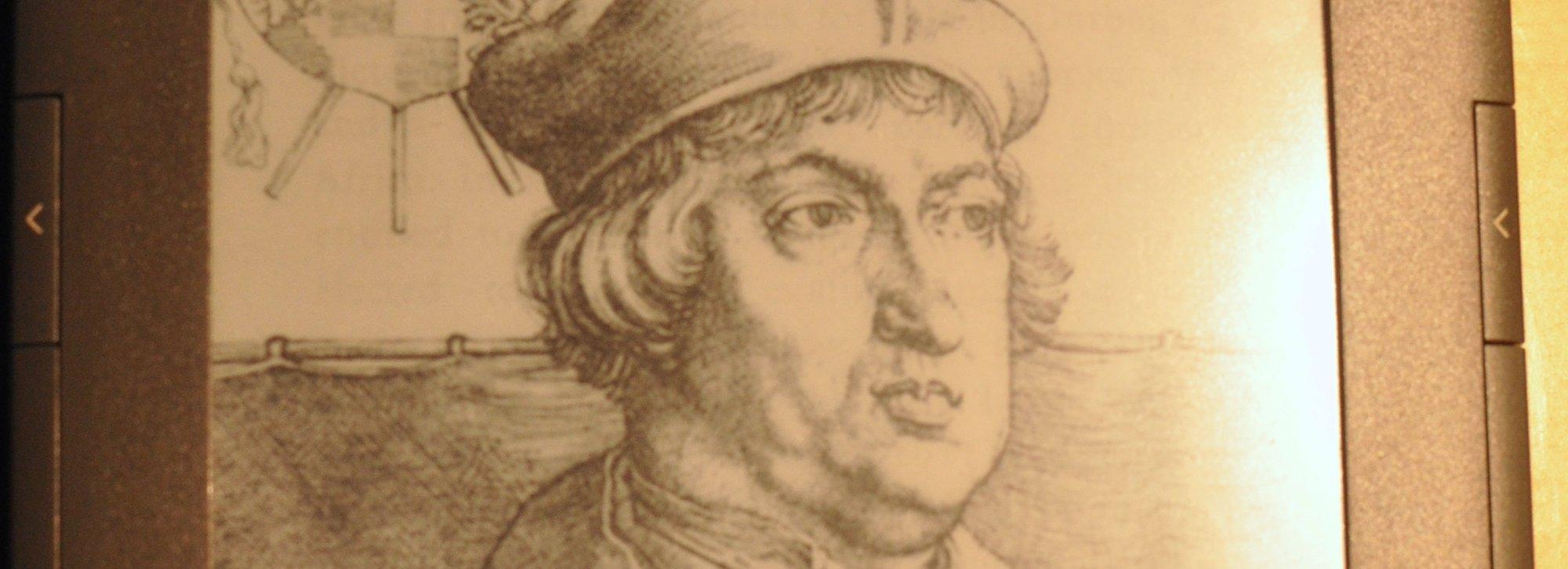 Skjermsparerbildene av klassiske forfattere (her Albertus Magus, 1206-1280) blir nå erstattet av Visa og Buick.