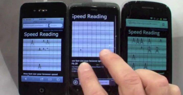 Maskinvareakselerasjon i IE 9 gir stor ytelsesgevinst i Windows Phone.