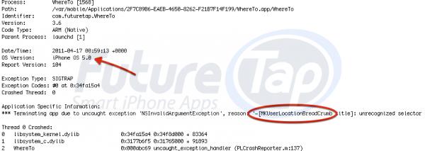 FutureTap-iOS-5-crash-log