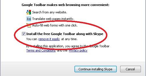 Installasjon av Skype. Selskapet har signert en avtale med Google og de vil gjerne at du ikke legger merke til at du får dette med på kjøpet.