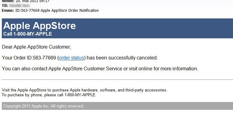 Har du akkurat handlet fra Apple kan det være fristende å trykke seg inn, spesielt når de påstår ordren din er kansellert, men ikke la deg lure!