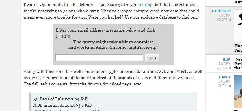 Gizmodo har laget et lite verktøy som lar deg søke i databasen med Lulz-informasjon.