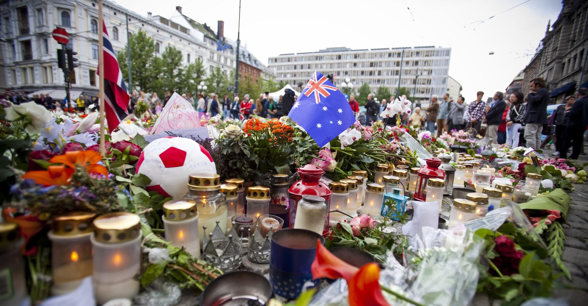 Sorg over de omkomne etter terror-aksjonene i Oslo og på Utøya fredag.