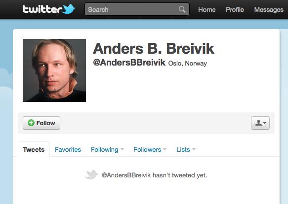 En Twitter-konto i Anders Behring Breiviks navn er fortsatt oppe. Men meldingene som hackerne la der er nå borte.