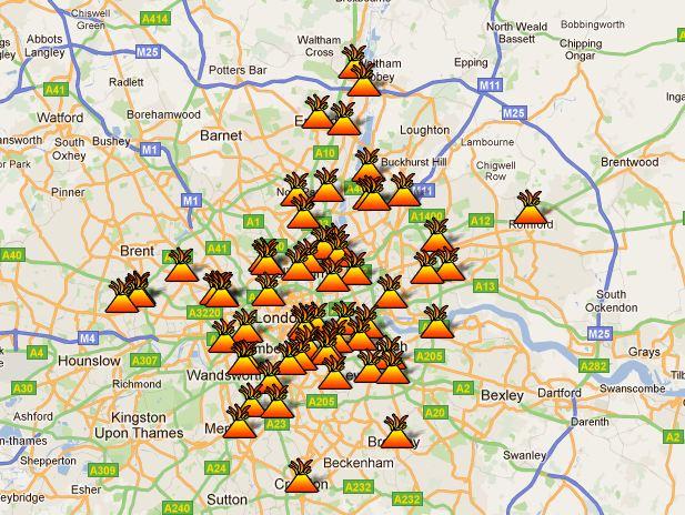 I disse bydelene er det nå utrygt å befinne seg som turist i London. Men opprøret sprer seg stadig, og kan komme til å ramme flere steder.