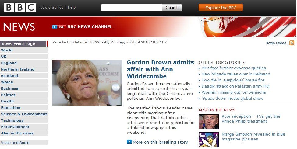 «BBC» kan i dag forteller at Storbritannias tidligere statsminister Gordon Brown bekrefter at han har et forhold til den konservative politikeren Ann Widdecombe...