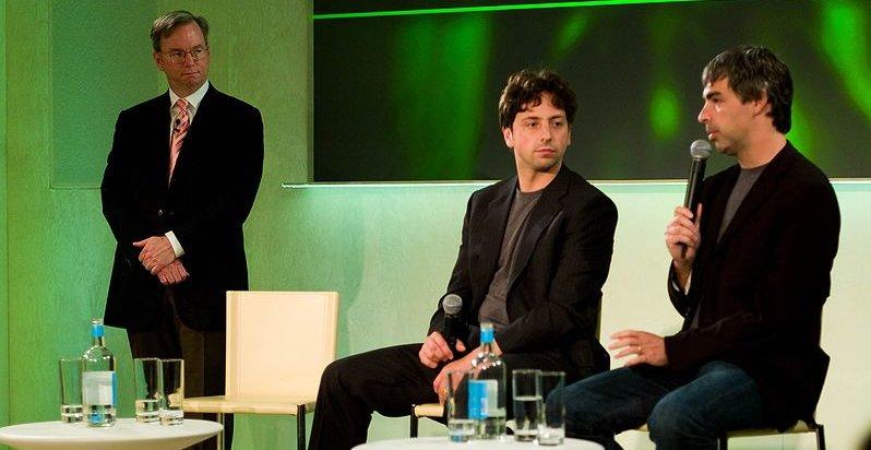 Google-toppene: Eric Schmidt, Sergey Brin og Larry Page.