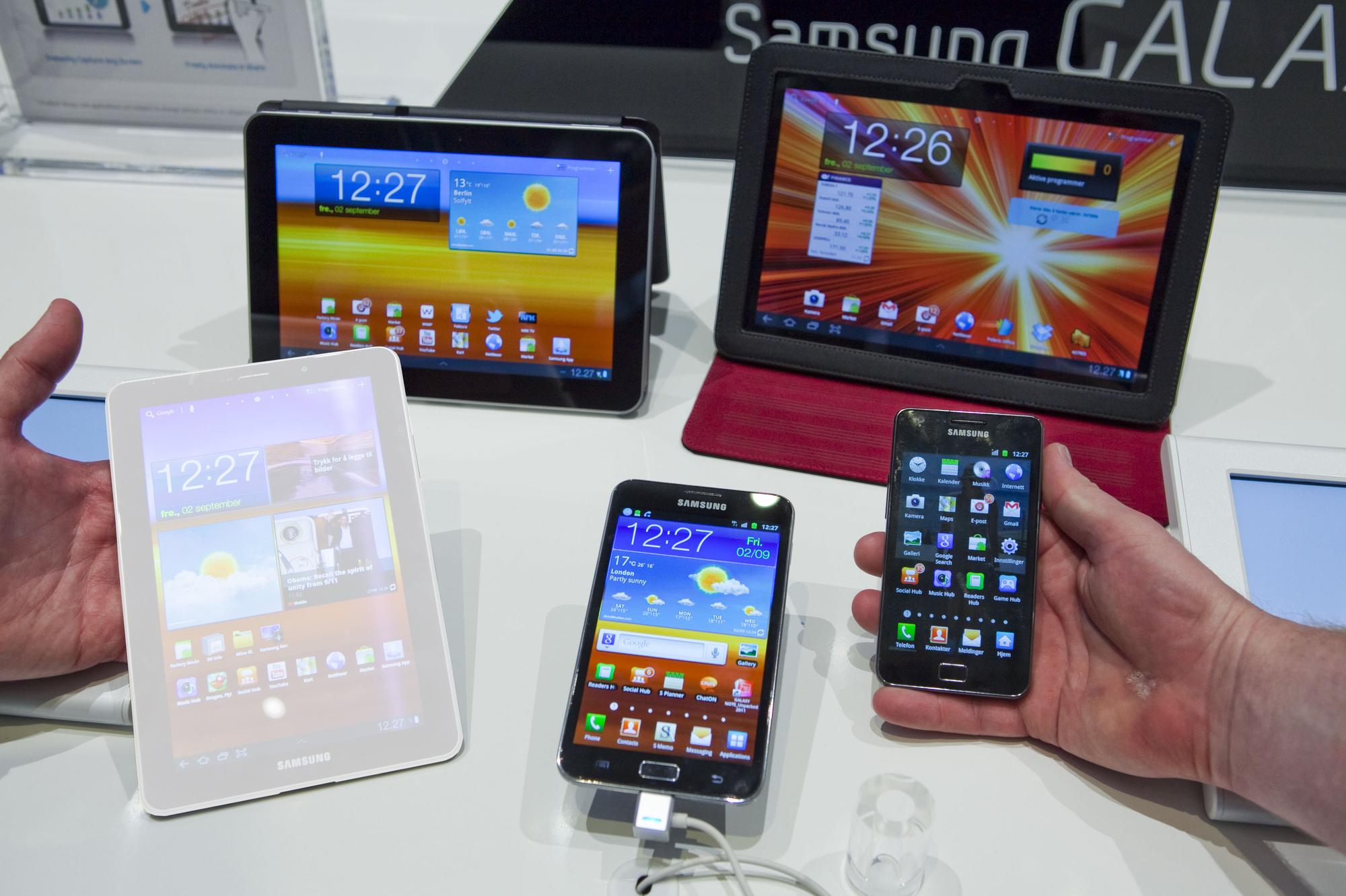 Dette bildet ble Samsungs IFA-stand fredag i forrige uke. Siden forsvant Galaxy Tab 7.7. (Foto: Per Ervland)