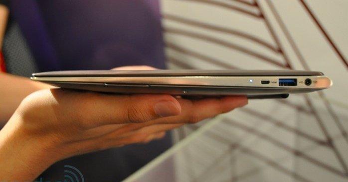 En ultrabook er en ekstra tynn bærbar. Bildet er av dagens generasjon ultrabooks.
