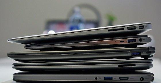 MacBook Air på toppen, Ultrabooks under.