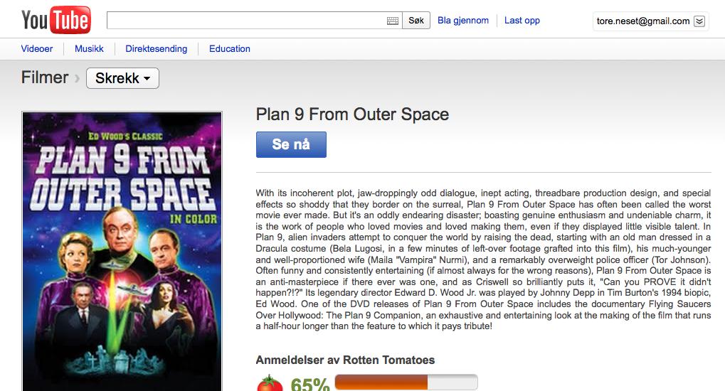 Er Plan 9 form Outer Space  fra 1959 passende helgekos?