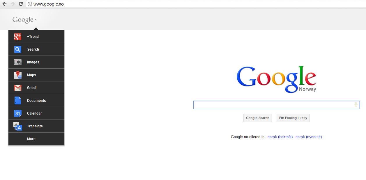 Slik ser Google ut med den nye verktøylinjen. På høyreside får man opp eventuelle Google+ notifikasjoner.