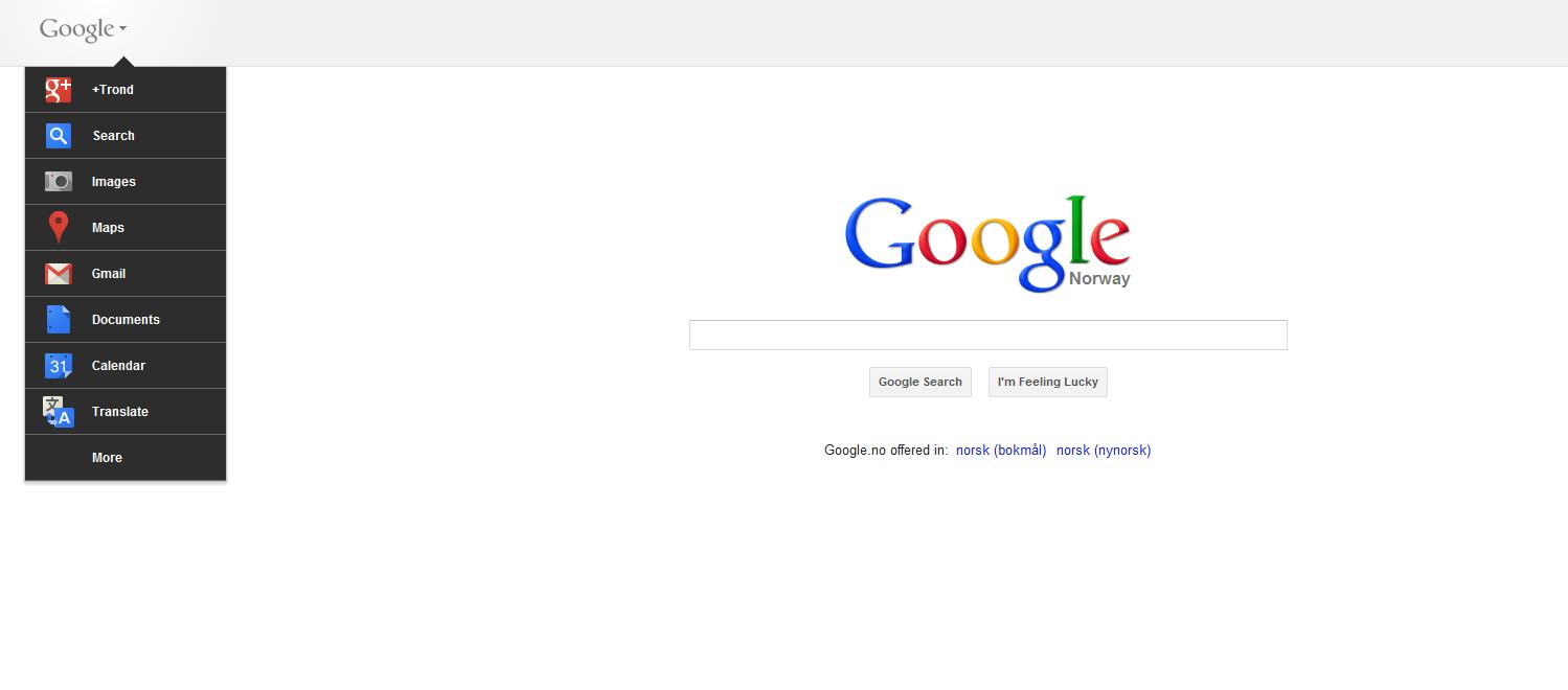 Googles nye søkeforside. Det vites ikke om BT også saksøker den nye verktøylinjen med snarveier til de mest brukte Google-tjeneste.