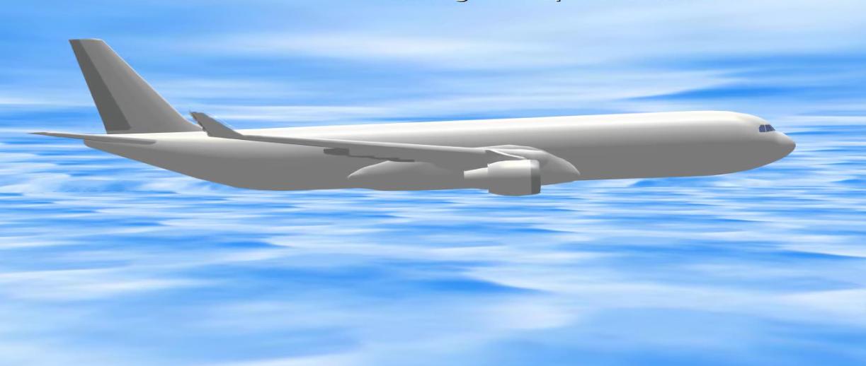 Bilde fra animasjonen som viser hva som skjedde da datamaskinen plutselig fikk Airbus-flyet til å stupe flere hundre meter.