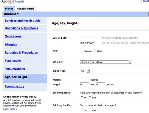Slik så helseskjemaet på Google Health ut.