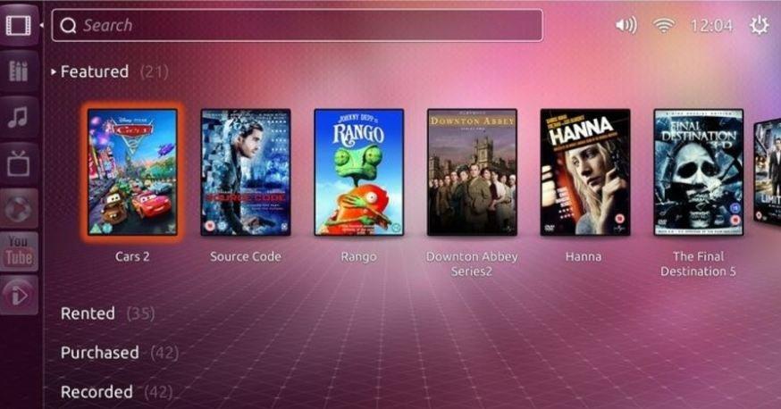 Slik ser skjermen ut på en Ubuntu-TV.