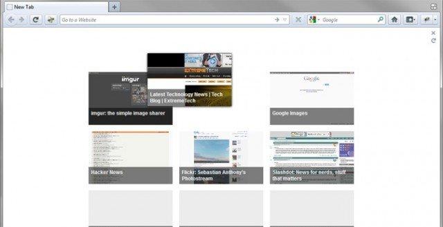 Firefox 12 med fanehåndtering.