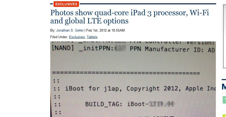 Noen der ute har trolig en iPad 3 og har sendt maskinvare-informasjonen hentet ut med iBoot til bloggen Boy Genius Reports.