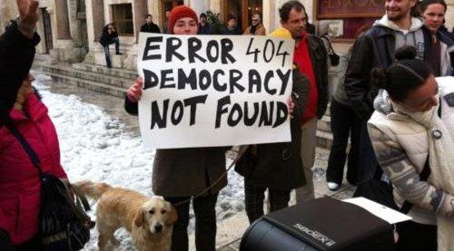 Protester mot ACTA i Split, Kroatia tidligere i år. Nå har demonstrantene fått viljen sin.