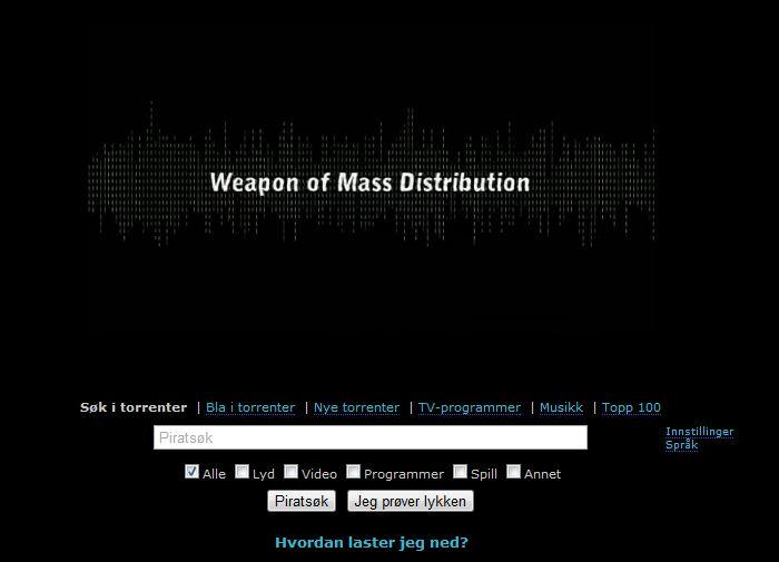 The Pirate Bays nettside endrer seg stadig. I skrivende stund presenterer de seg med slagordet «Weapon of Mass Distribution»(«Massedistribusjonsvåpen»).