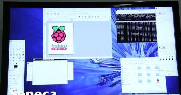 Slik ser skrivebordet ut under en vanlig økt med mini-OS-et Pi Fedora Remix.