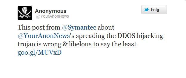 Klar tilbakemelding fra YourAnymousNews: Symtantec farer med ondsinnet løgn.