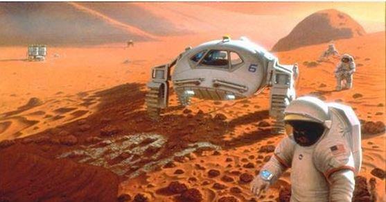 Slik forestiller en ikke navngitt kunstner seg den første koloniseringen av Mars. Blir Google først?