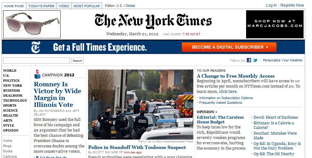 New York Times nærmer seg en halv million betalende nettbrukere.