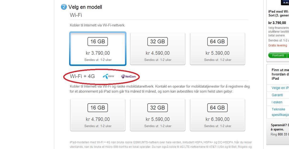 Det er lett å bli forvirra, men hverken NetCom eller Telenor kan per dags dato levere 4G-hastighet på nye iPad.