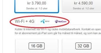 4G i Norge? Nei, med den nye iPaden med LTE får du maks HSPA+, en 3G-teknologi.