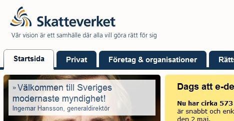 «Sveriges mest moderne myndighet» står det på den svenske Skatteverkets nettside.