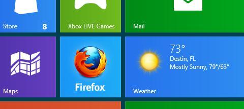 Slik ser Firefox ut i Metro-miljø.
