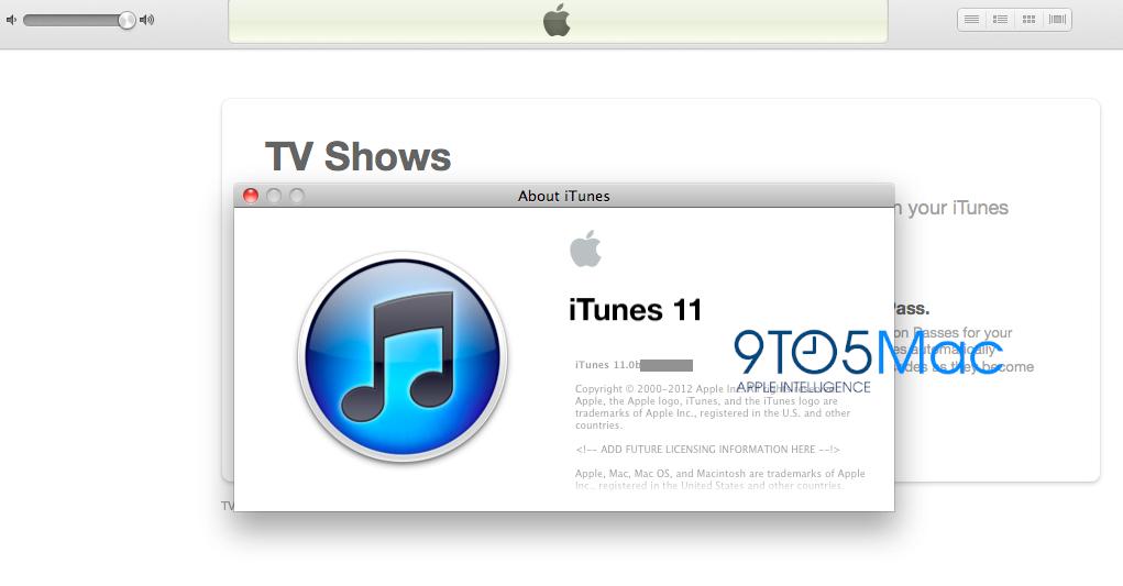 Et skjermbilde av iTunes 11 levert av 9to5mac' anonyme kilde.