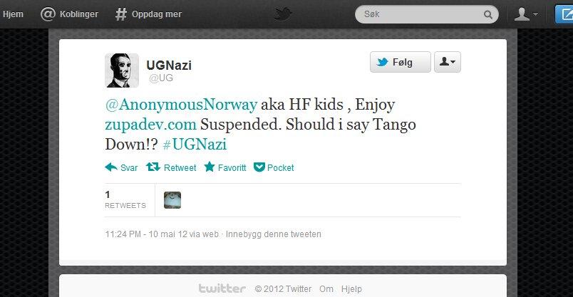 Twitter - @UG- @AnonymousNorway aka HF ki ...