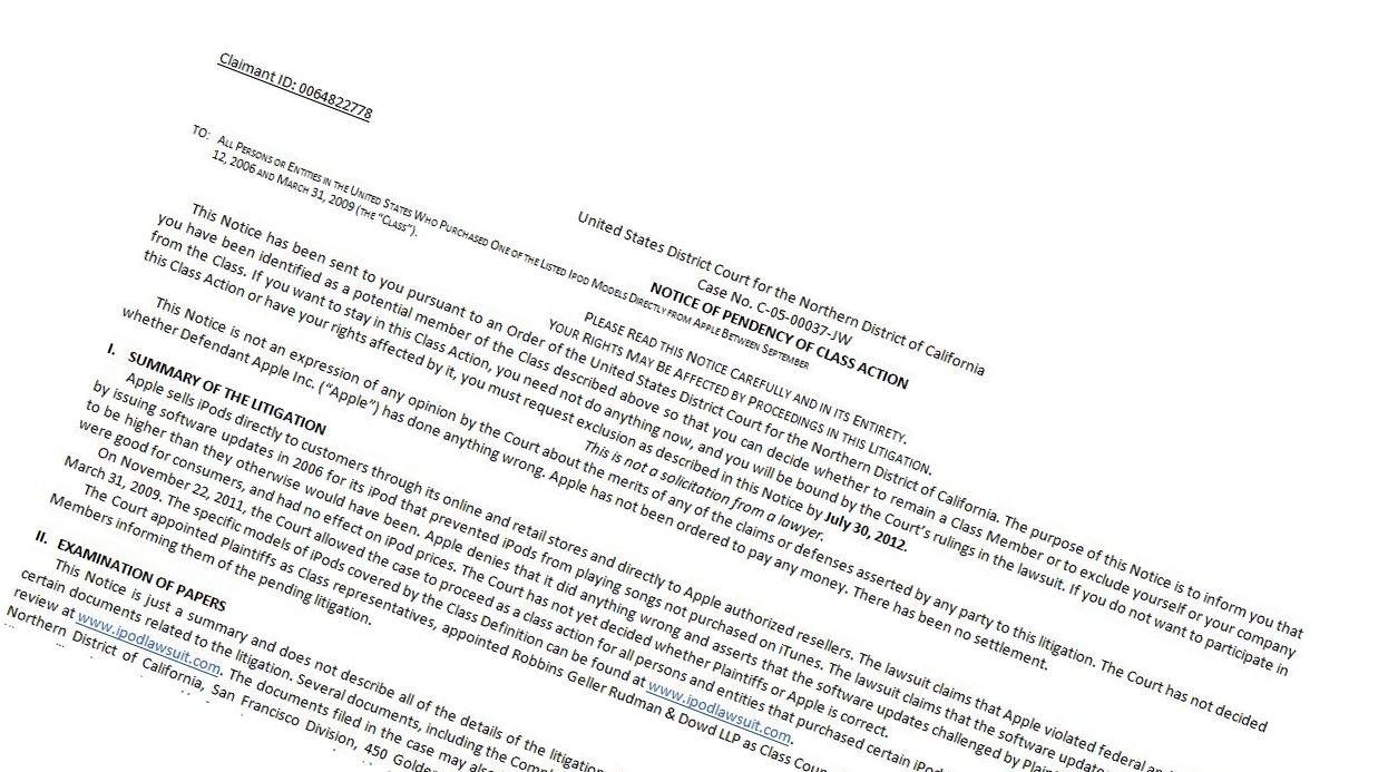 Dette brevet er sendt ut av en føderla domstol i California.
