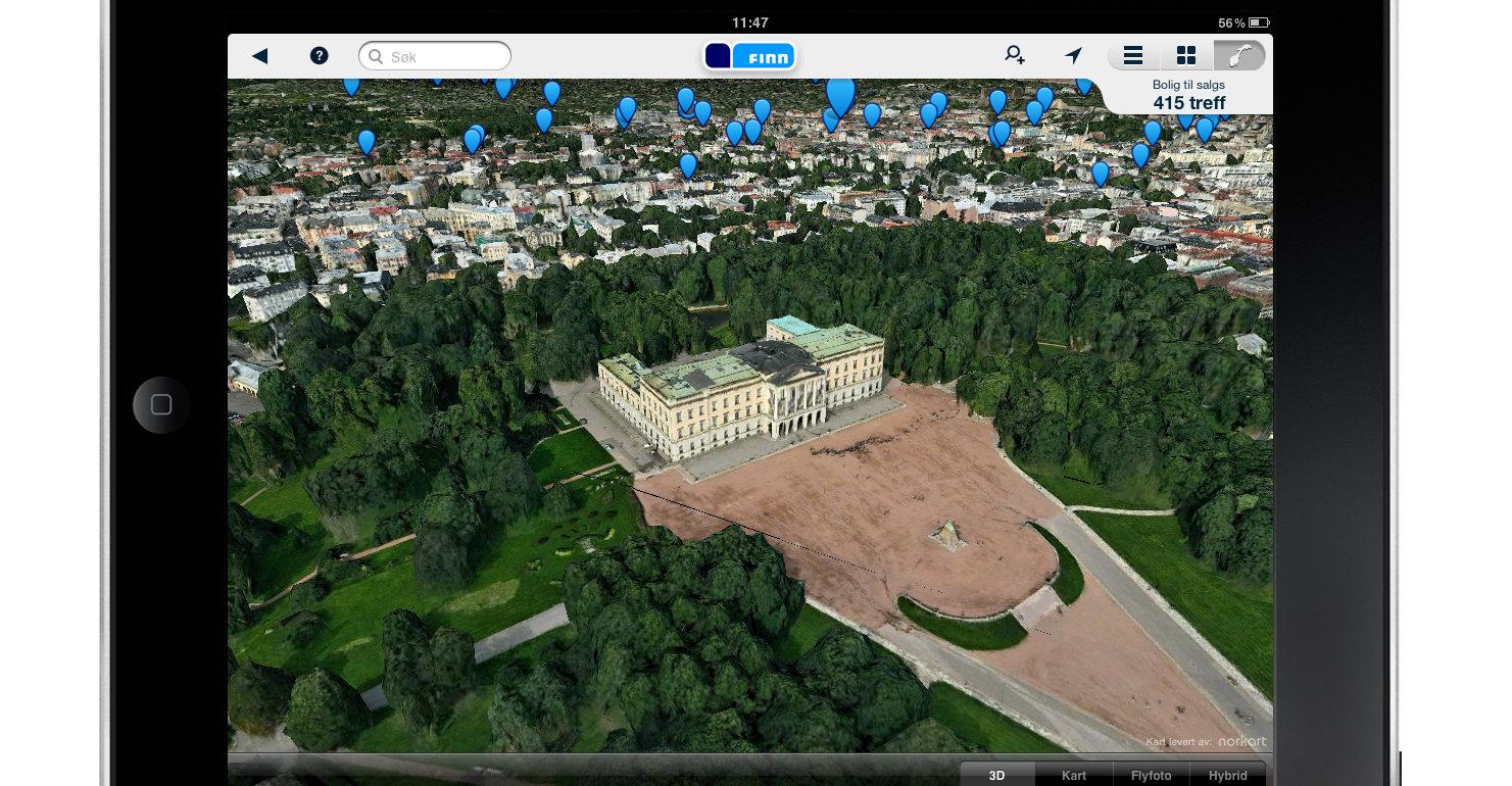 iPad-appen har 3D-bilder fra C3 Technologies.