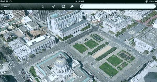 Googles kart-applikasjon på en iPad. Kanskje har ikke Apple avsluttet samarbeidet med Google likevel? Det ryktes nemlig at Apple skal lansere sin helt egen kart-tjeneste på WWDC som går av stabelen førstkommende mandag.