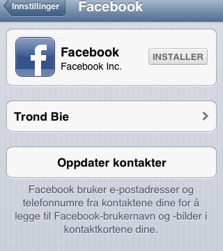 Facebook-innstillingene. Merk at du kan oppdatere kontakter herfra, og ikke behøver Facebook appen.