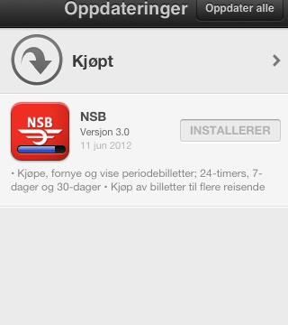 Annen visning av butikken og hvordan man oppdaterer apps. Det er ikke lenger nødvendig å taste passordet hver gang.