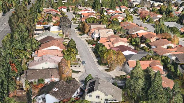 3D-visning rett utenfor Apples hovedkvarter i California.