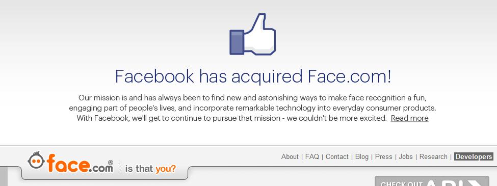Tommel opp fra face.com: nå er de en del av Facebook.com. Og de har grunn til å gi tommel opp om verdispekulasjonen fra i vår stemmer.