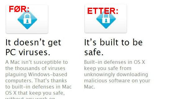 Apple våger ikke lenge rå være like kjekke når det gjelder virus.