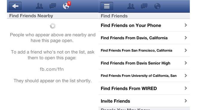 Slik så mobilskjermen ut for noen Facebook-brukere i går. Men så ble vennefinneren fjernet igjen.