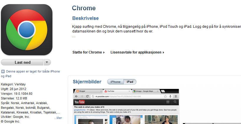 Chrome er den mest nedlastede gratisappen for iOS.