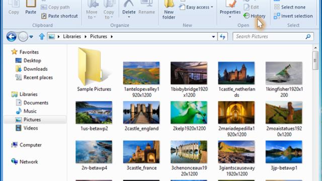 Fra historie når du File History.